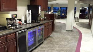 Concierge area with coffee, cappuccino, cold drinks and snacks.